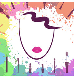 face of beautiful girl fashion icon makeup vector image vector image