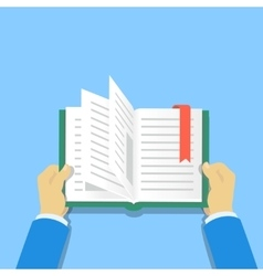 Hands holding a book People reading books vector image