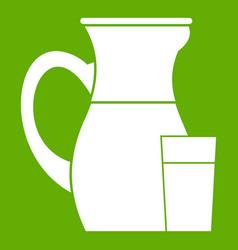 jug of milk icon green vector image