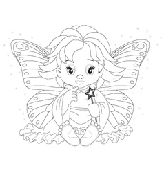 magical fairy Coloring page vector image