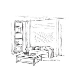 Modern interior room sketch Hand drawn furniture vector image vector image