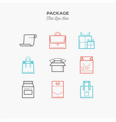 package gift box thin line color icons set vector image vector image