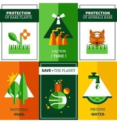 Six Flat Ecology Posters Set vector image