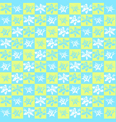 bright exotic checkered flower pattern vector image