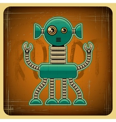 Card in retro style with the robot vector image