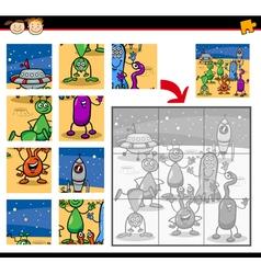 cartoon aliens jigsaw puzzle game vector image vector image