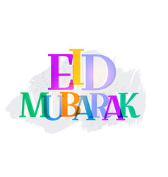 Colorful eid mubarak text abstract background vector