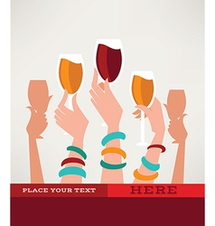 hands and glasses vector image vector image