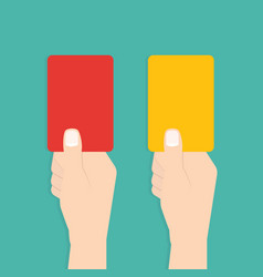 judge hand with red and yellow card football vector image vector image
