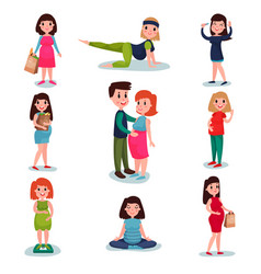pregnant women characters in different poses set vector image