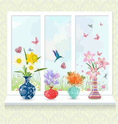 romantic collection of modern glass vases with vector image