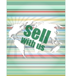 Sell with us word on digital screen vector image