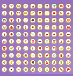 100 carnival icons set in cartoon style vector image