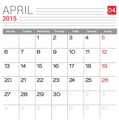 2015 April calendar page vector image vector image