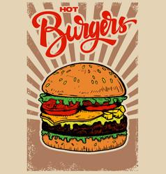 best burgers hamburger on grunge background vector image vector image