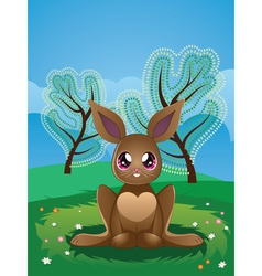 Brown Rabbit on Lawn2 vector image vector image