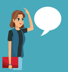 cartoon girl talk bubble speech vector image