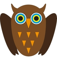 Cute Brown owl with yellow eyes vector image vector image