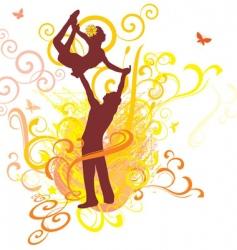 dancing yellow sunshine couple vector image