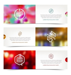 abstract horizontal banners with hipster emblems vector image