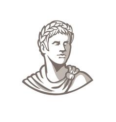 Ancient roman emperor bust mascot vector