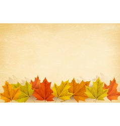 Autumn background with leaves and old paper vector image