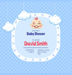 baby shower invitation with pattern in flat style vector image