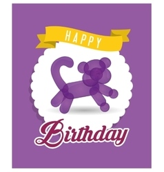 Balloon kitti ribbon happy birthday card purple vector