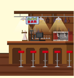 bar counter pub beer tap pump stools shelves vector image