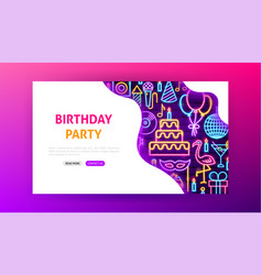 Birthday party neon landing page vector