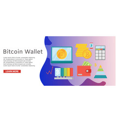 bitcoin wallet secure worldwide payment web vector image