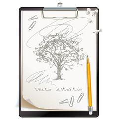 black clipboard with a painted sketch vector image