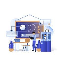 blue futuristic 3d printing technologies vector image
