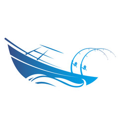 Boat with fishing rods silhouette vector