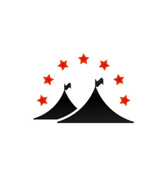 camping tent graphic with stars vector image