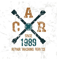 Car service wheel brace emblem vector