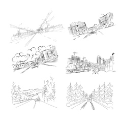 Cars on city road set of hand drawn vector image