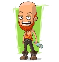 Cartoon bold man with beard and bottle vector image