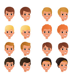 Cartoon collection of variety of boy s hair styles vector