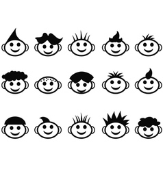 Cartoon kids face with hair style icons vector