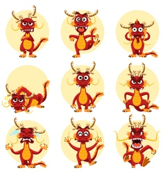 Chinese Dragon Mascot Emoticons Set vector