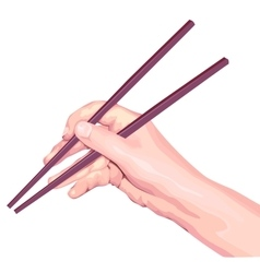 Chopsticks in hand vector