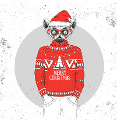 christmas hipster fashion animal lemur vector image