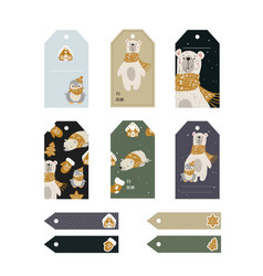 Christmas tags cute collection vector