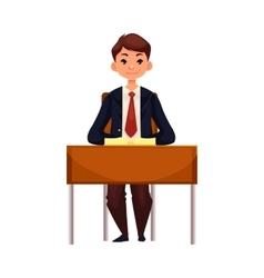Clever school girl sitting at the desk with open vector
