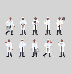 collection of african american male doctor vector image