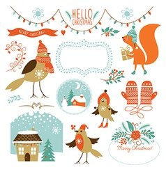 Collection of Christmas graphic elements vector image