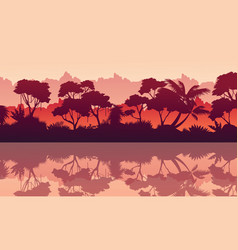 collection of jungle reflection silhouette scenery vector image