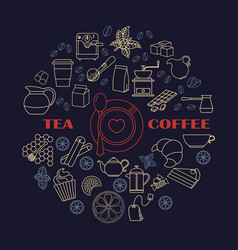 collection of tea and coffee icons vector image