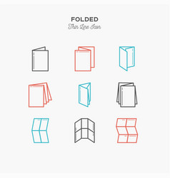 Color line icon set of folded objects scoring vector